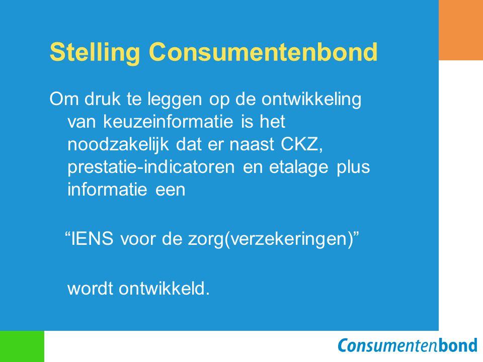 Stelling Consumentenbond Om druk te leggen op de ontwikkeling van keuzeinformatie is het noodzakelijk dat er naast CKZ, prestatie-indicatoren en etalage plus informatie een IENS voor de zorg(verzekeringen) wordt ontwikkeld.
