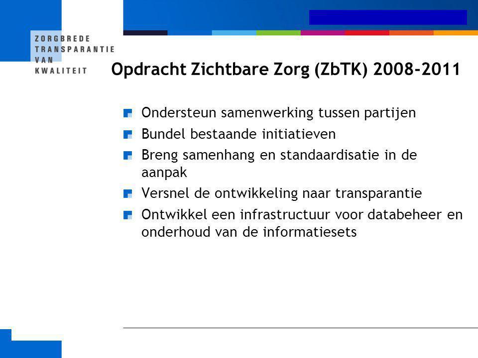 Medisch-specialistische zorg Opdracht Zichtbare Zorg (ZbTK) 2008-2011 Ondersteun samenwerking tussen partijen Bundel bestaande initiatieven Breng same