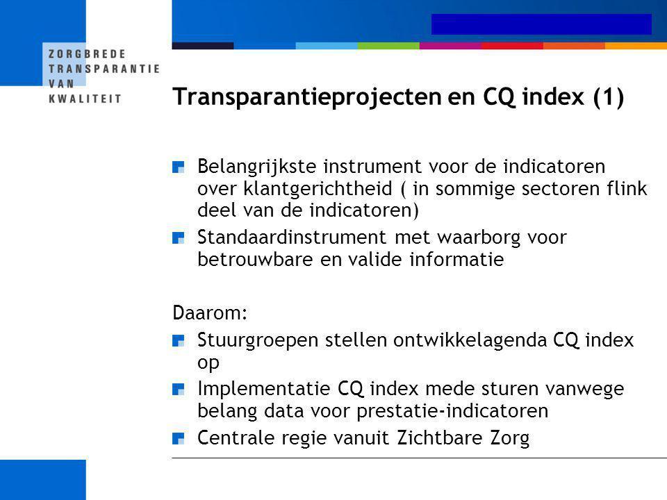 Medisch-specialistische zorg Transparantieprojecten en CQ index (1) Belangrijkste instrument voor de indicatoren over klantgerichtheid ( in sommige se