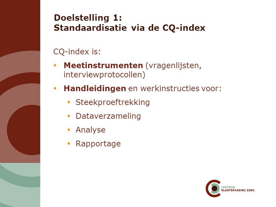 Doelstelling 1: Standaardisatie via de CQ-index CQ-index is:  Meetinstrumenten (vragenlijsten, interviewprotocollen)  Handleidingen en werkinstructies voor:  Steekproeftrekking  Dataverzameling  Analyse  Rapportage
