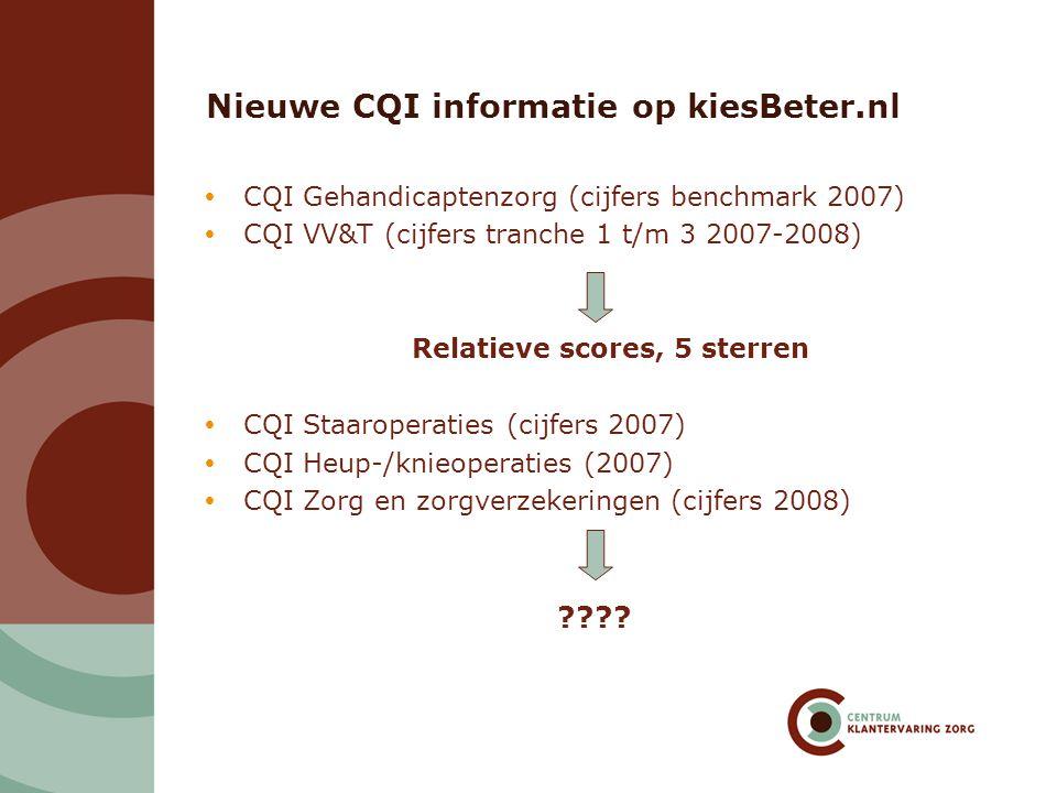 Nieuwe CQI informatie op kiesBeter.nl  CQI Gehandicaptenzorg (cijfers benchmark 2007)  CQI VV&T (cijfers tranche 1 t/m 3 2007-2008) Relatieve scores, 5 sterren  CQI Staaroperaties (cijfers 2007)  CQI Heup-/knieoperaties (2007)  CQI Zorg en zorgverzekeringen (cijfers 2008) ????