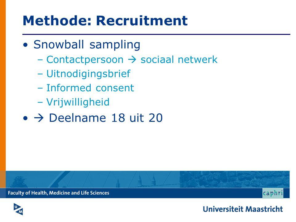 Methode: Recruitment Snowball sampling –Contactpersoon  sociaal netwerk –Uitnodigingsbrief –Informed consent –Vrijwilligheid  Deelname 18 uit 20
