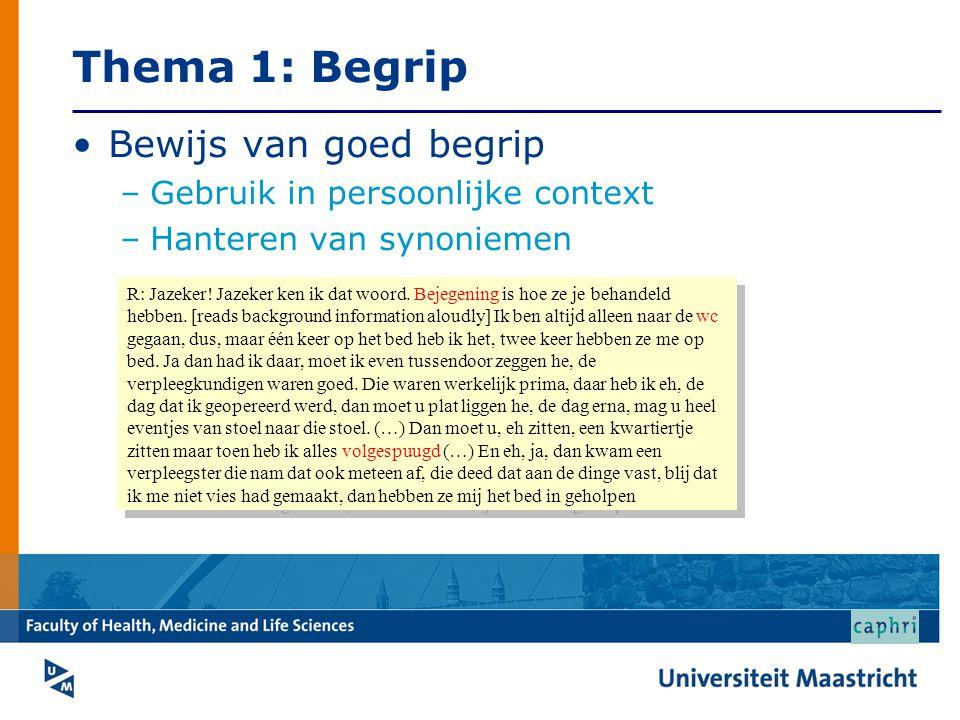 Thema 1: Begrip Bewijs van goed begrip –Gebruik in persoonlijke context –Hanteren van synoniemen R: Jazeker! Jazeker ken ik dat woord. Bejegening is h