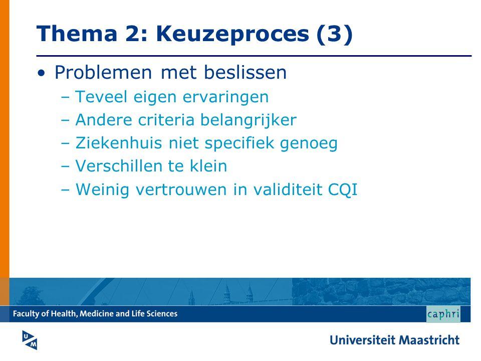 Thema 2: Keuzeproces (3) Problemen met beslissen –Teveel eigen ervaringen –Andere criteria belangrijker –Ziekenhuis niet specifiek genoeg –Verschillen