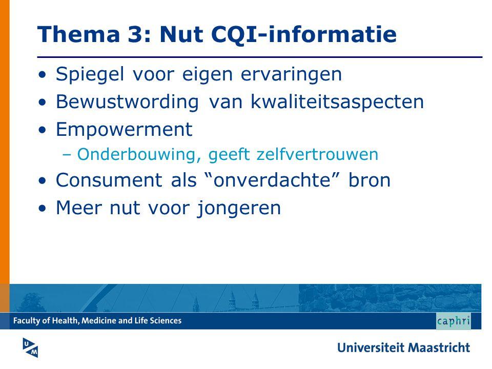Thema 3: Nut CQI-informatie Spiegel voor eigen ervaringen Bewustwording van kwaliteitsaspecten Empowerment –Onderbouwing, geeft zelfvertrouwen Consume