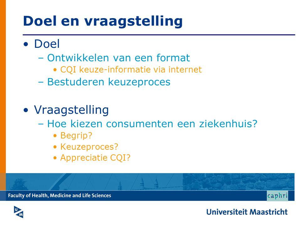 Doel en vraagstelling Doel –Ontwikkelen van een format CQI keuze-informatie via internet –Bestuderen keuzeproces Vraagstelling –Hoe kiezen consumenten