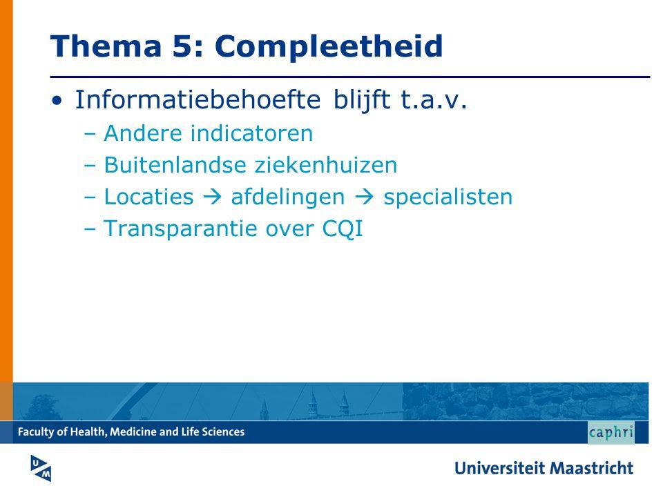Thema 5: Compleetheid Informatiebehoefte blijft t.a.v. –Andere indicatoren –Buitenlandse ziekenhuizen –Locaties  afdelingen  specialisten –Transpara