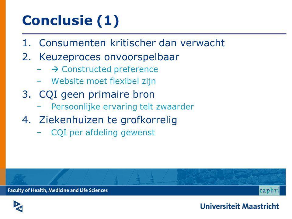 Conclusie (1) 1.Consumenten kritischer dan verwacht 2.Keuzeproces onvoorspelbaar –  Constructed preference –Website moet flexibel zijn 3.CQI geen pri