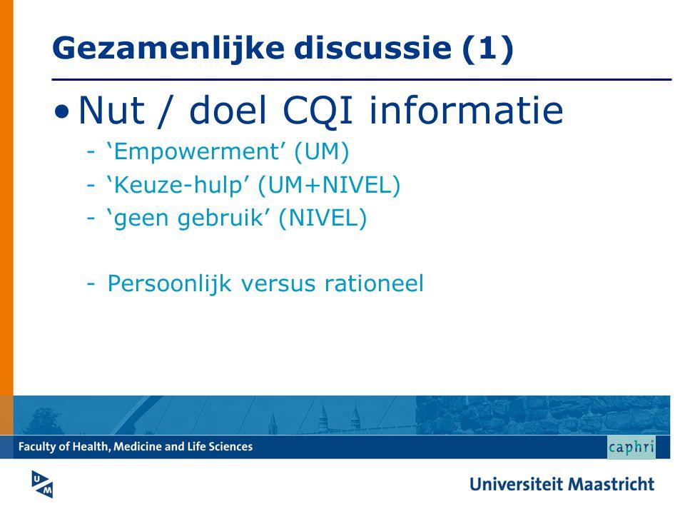 Gezamenlijke discussie (1) Nut / doel CQI informatie -'Empowerment' (UM) -'Keuze-hulp' (UM+NIVEL) -'geen gebruik' (NIVEL) -Persoonlijk versus rationee