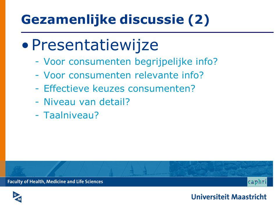 Gezamenlijke discussie (2) Presentatiewijze -Voor consumenten begrijpelijke info? -Voor consumenten relevante info? -Effectieve keuzes consumenten? -N