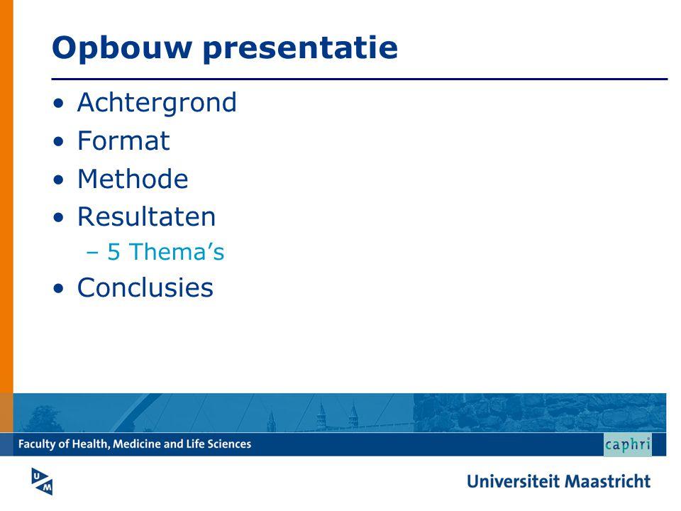 Opbouw presentatie Achtergrond Format Methode Resultaten –5 Thema's Conclusies