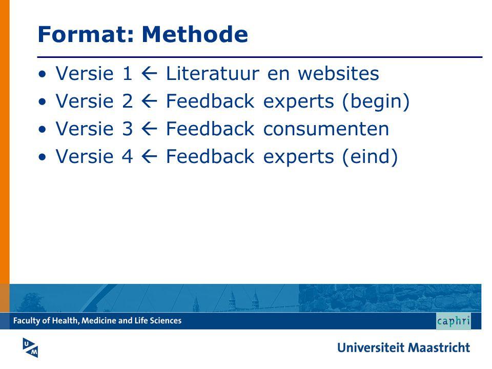 Format: Methode Versie 1  Literatuur en websites Versie 2  Feedback experts (begin) Versie 3  Feedback consumenten Versie 4  Feedback experts (ein