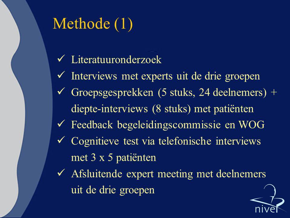 Methode (1) Literatuuronderzoek Interviews met experts uit de drie groepen Groepsgesprekken (5 stuks, 24 deelnemers) + diepte-interviews (8 stuks) met