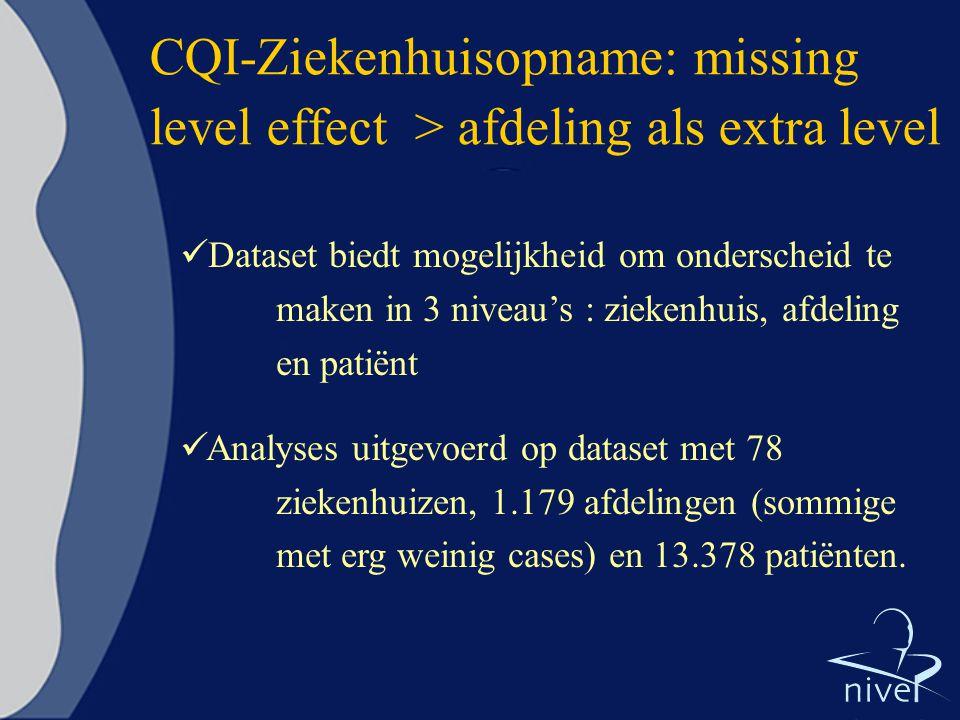 CQI-Ziekenhuisopname: missing level effect > afdeling als extra level Dataset biedt mogelijkheid om onderscheid te maken in 3 niveau's : ziekenhuis, a