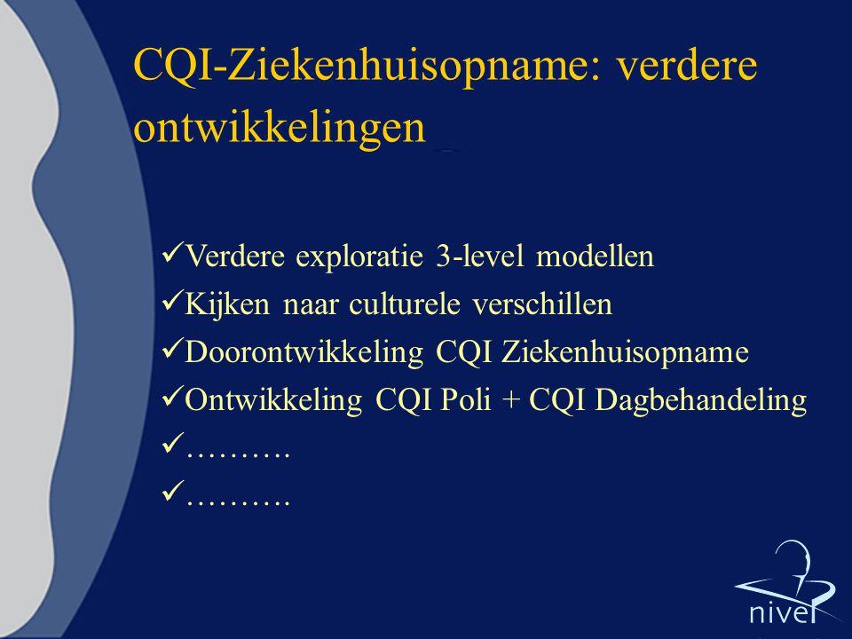CQI-Ziekenhuisopname: verdere ontwikkelingen Verdere exploratie 3-level modellen Kijken naar culturele verschillen Doorontwikkeling CQI Ziekenhuisopna