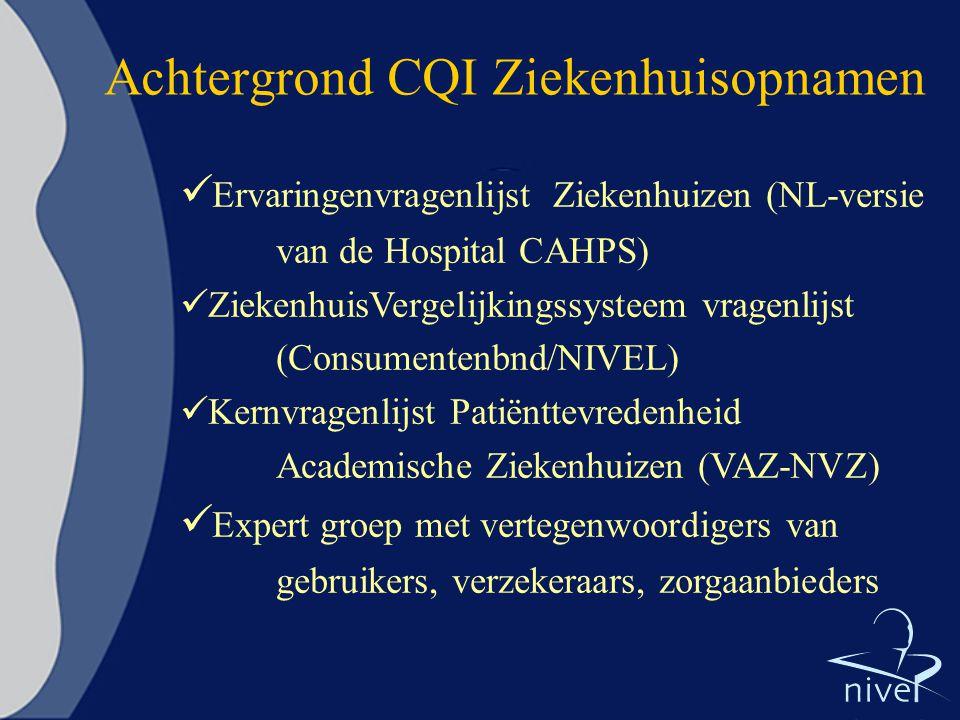 Achtergrond CQI Ziekenhuisopnamen Ervaringenvragenlijst Ziekenhuizen (NL-versie van de Hospital CAHPS) ZiekenhuisVergelijkingssysteem vragenlijst (Con