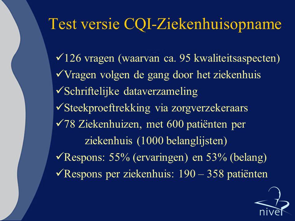 Test versie CQI-Ziekenhuisopname 126 vragen (waarvan ca. 95 kwaliteitsaspecten) Vragen volgen de gang door het ziekenhuis Schriftelijke dataverzamelin
