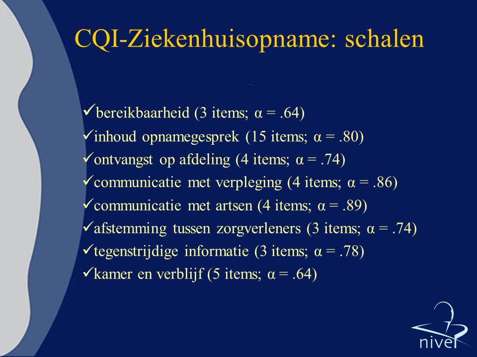 CQI-Ziekenhuisopname: schalen bereikbaarheid (3 items; α =.64) inhoud opnamegesprek (15 items; α =.80) ontvangst op afdeling (4 items; α =.74) communi