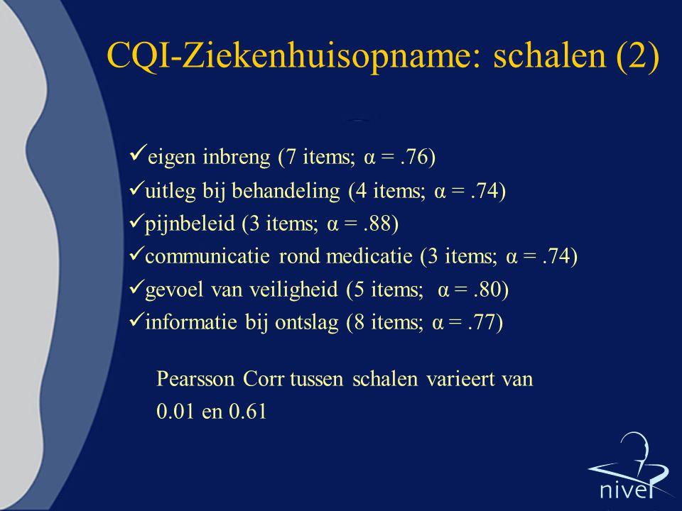CQI-Ziekenhuisopname: schalen (2) eigen inbreng (7 items; α =.76) uitleg bij behandeling (4 items; α =.74) pijnbeleid (3 items; α =.88) communicatie r