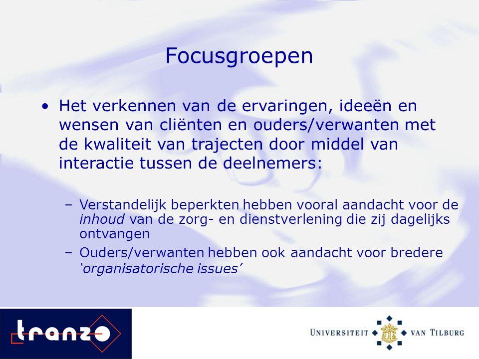 Focusgroepen Het verkennen van de ervaringen, ideeën en wensen van cliënten en ouders/verwanten met de kwaliteit van trajecten door middel van interac