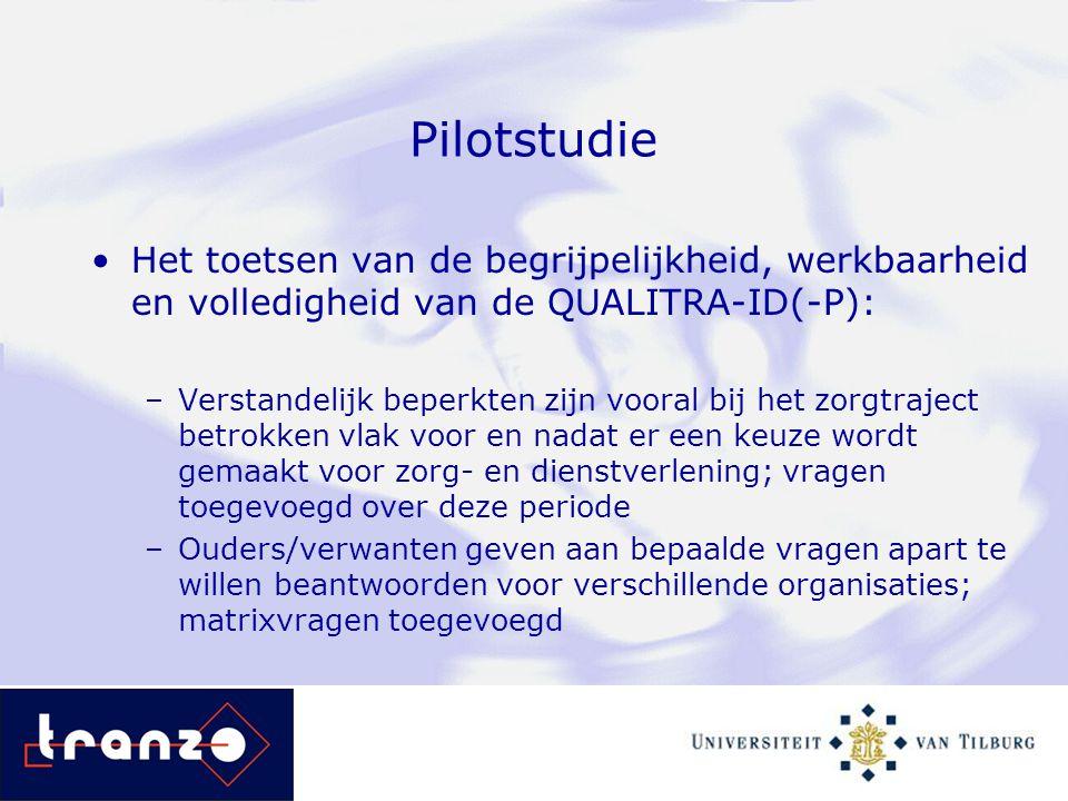 Pilotstudie Het toetsen van de begrijpelijkheid, werkbaarheid en volledigheid van de QUALITRA-ID(-P): –Verstandelijk beperkten zijn vooral bij het zor