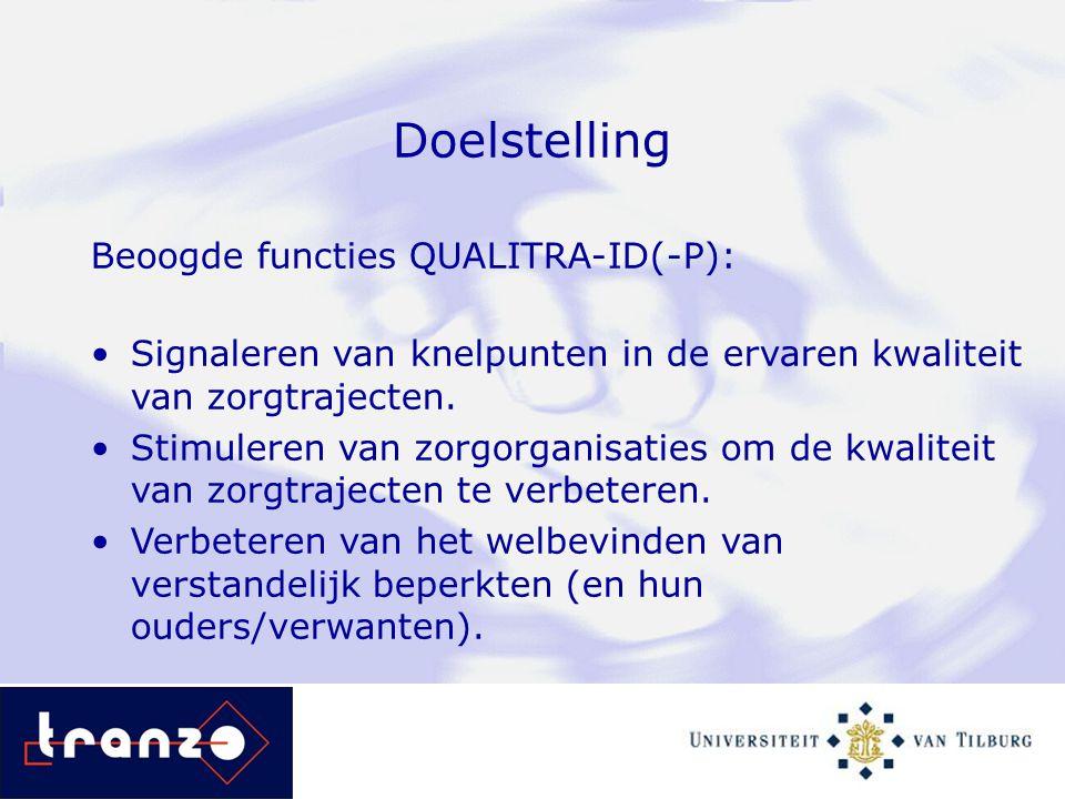Doelstelling Beoogde functies QUALITRA-ID(-P): Signaleren van knelpunten in de ervaren kwaliteit van zorgtrajecten. Stimuleren van zorgorganisaties om