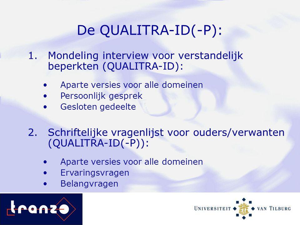 De QUALITRA-ID(-P): 1.Mondeling interview voor verstandelijk beperkten (QUALITRA-ID): Aparte versies voor alle domeinen Persoonlijk gesprek Gesloten g