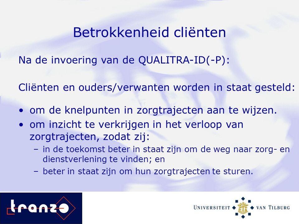 Betrokkenheid cliënten Na de invoering van de QUALITRA-ID(-P): Cliënten en ouders/verwanten worden in staat gesteld: om de knelpunten in zorgtrajecten
