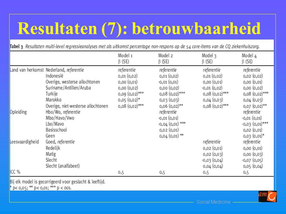 Social Medicine Resultaten (7): betrouwbaarheid Tabel 3 tsg artikel