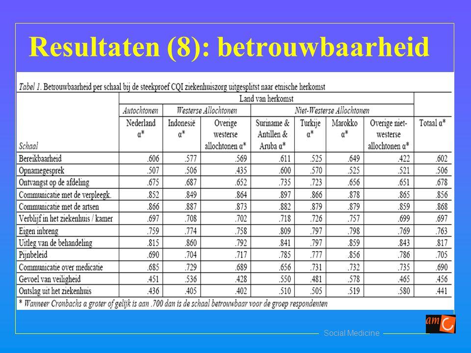 Social Medicine Resultaten (8): betrouwbaarheid