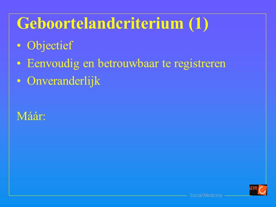 Geboortelandcriterium (1) Objectief Eenvoudig en betrouwbaar te registreren Onveranderlijk Máár: