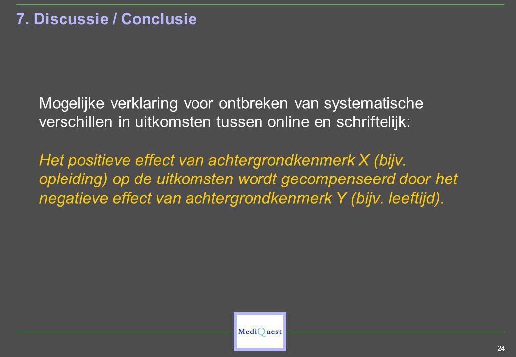 24 7. Discussie / Conclusie Mogelijke verklaring voor ontbreken van systematische verschillen in uitkomsten tussen online en schriftelijk: Het positie