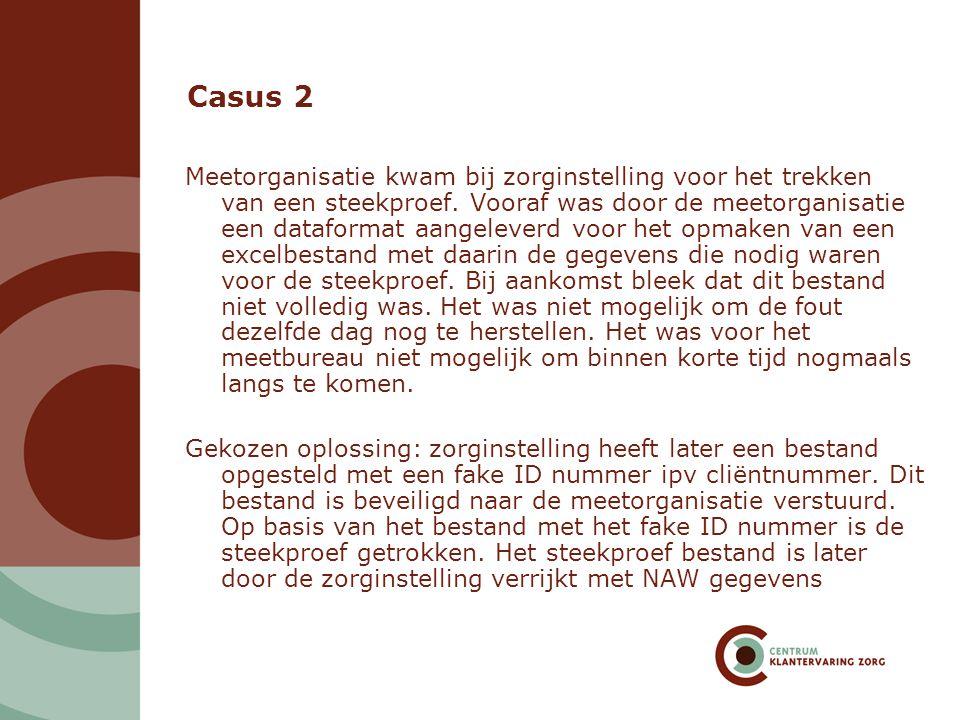 Casus 2 Meetorganisatie kwam bij zorginstelling voor het trekken van een steekproef. Vooraf was door de meetorganisatie een dataformat aangeleverd voo