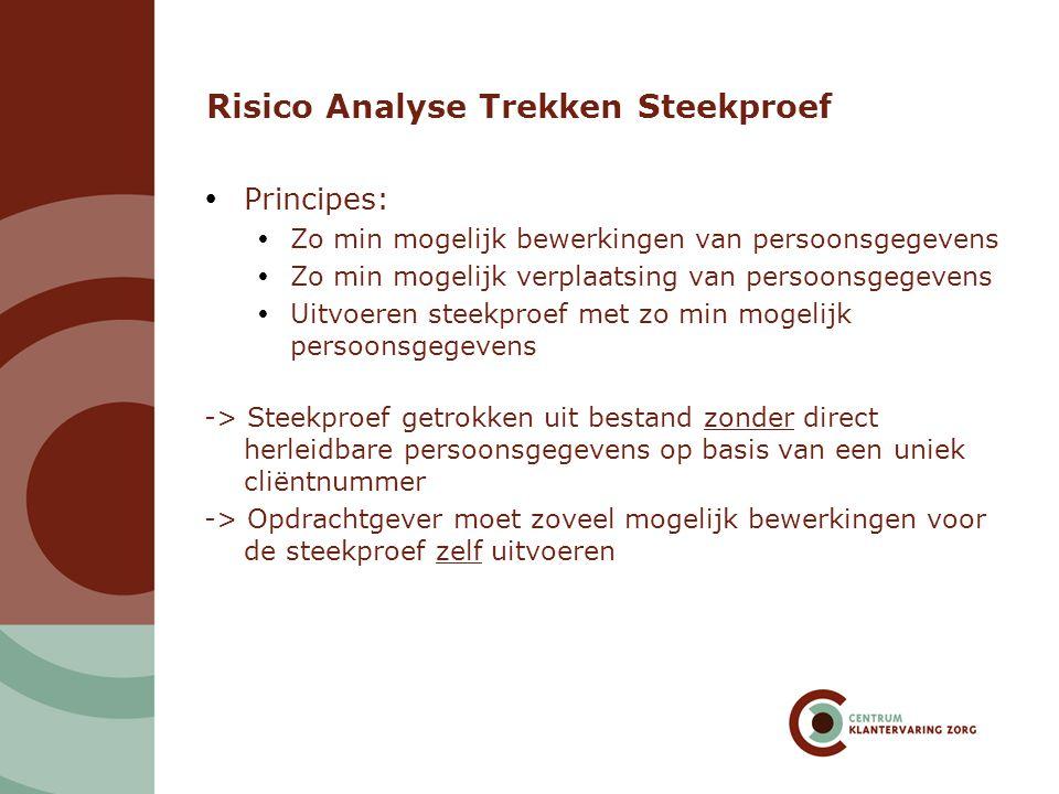 Risico Analyse Trekken Steekproef  Principes:  Zo min mogelijk bewerkingen van persoonsgegevens  Zo min mogelijk verplaatsing van persoonsgegevens