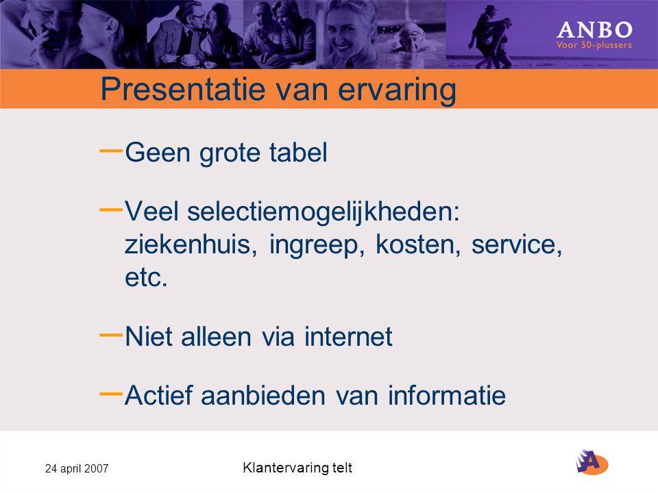 24 april 2007 Klantervaring telt Presentatie van ervaring – Geen grote tabel – Veel selectiemogelijkheden: ziekenhuis, ingreep, kosten, service, etc.