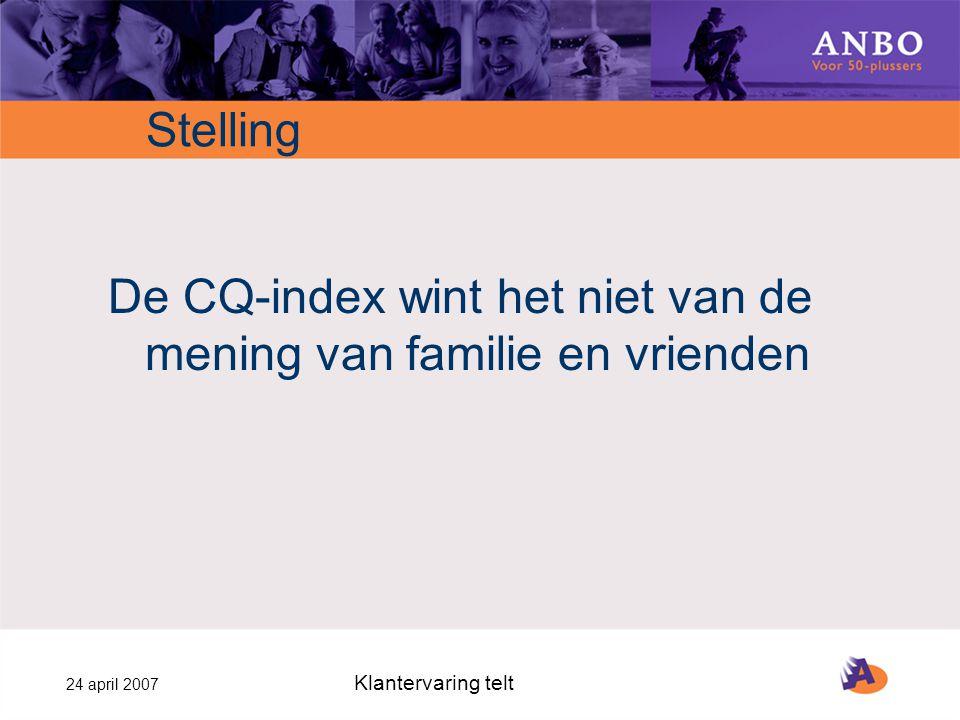 24 april 2007 Klantervaring telt Stelling De CQ-index wint het niet van de mening van familie en vrienden