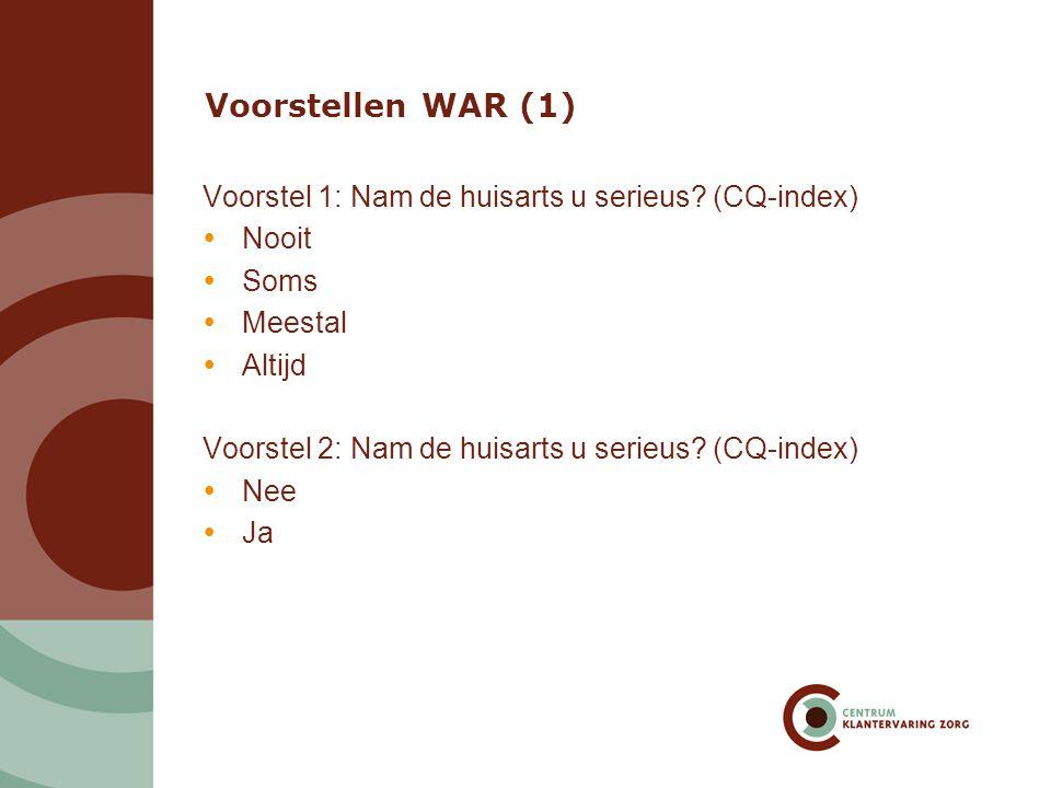 Voorstellen WAR (1) Voorstel 1: Nam de huisarts u serieus? (CQ-index)  Nooit  Soms  Meestal  Altijd Voorstel 2: Nam de huisarts u serieus? (CQ-ind