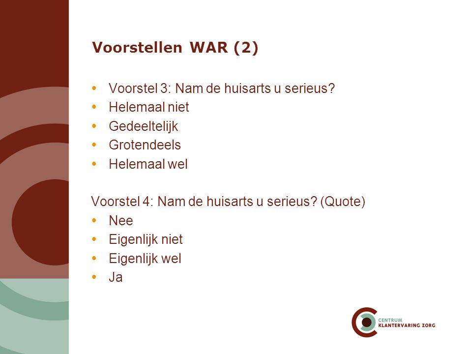 Voorstellen WAR (3) Voorstel 5: Nam de huisarts u serieus.