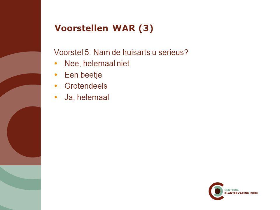 Voorstellen WAR (3) Voorstel 5: Nam de huisarts u serieus?  Nee, helemaal niet  Een beetje  Grotendeels  Ja, helemaal