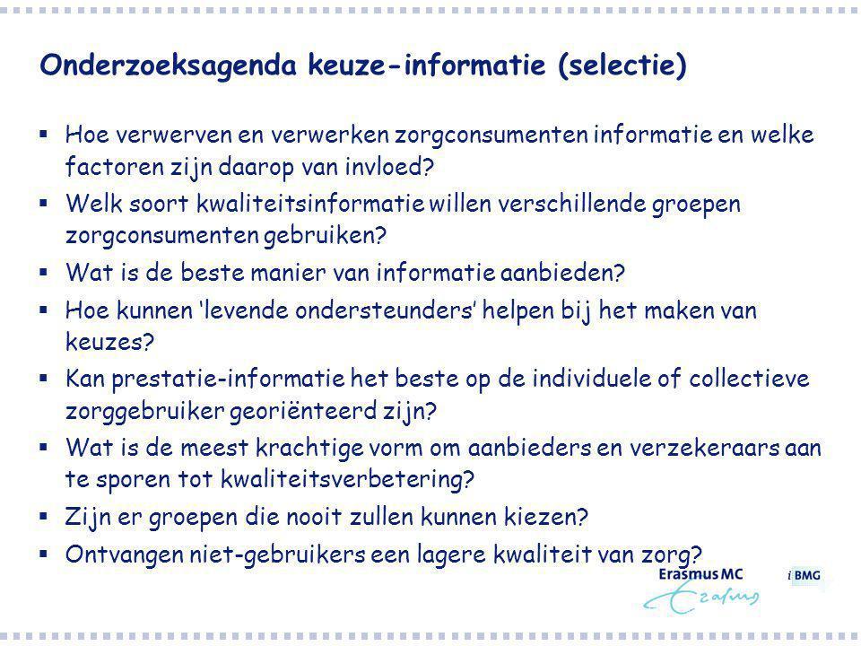 Onderzoeksagenda keuze-informatie (selectie)  Hoe verwerven en verwerken zorgconsumenten informatie en welke factoren zijn daarop van invloed.