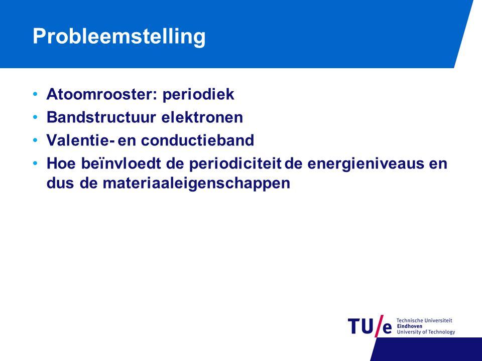 Probleemstelling Atoomrooster: periodiek Bandstructuur elektronen Valentie- en conductieband Hoe beïnvloedt de periodiciteit de energieniveaus en dus de materiaaleigenschappen
