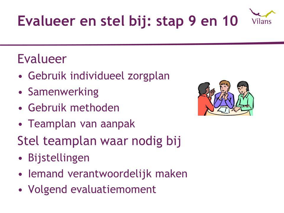 Evalueer en stel bij: stap 9 en 10 Evalueer Gebruik individueel zorgplan Samenwerking Gebruik methoden Teamplan van aanpak Stel teamplan waar nodig bij Bijstellingen Iemand verantwoordelijk maken Volgend evaluatiemoment