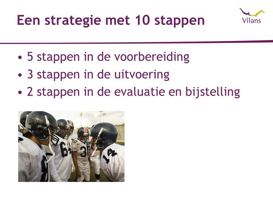 Een strategie met 10 stappen 5 stappen in de voorbereiding 3 stappen in de uitvoering 2 stappen in de evaluatie en bijstelling