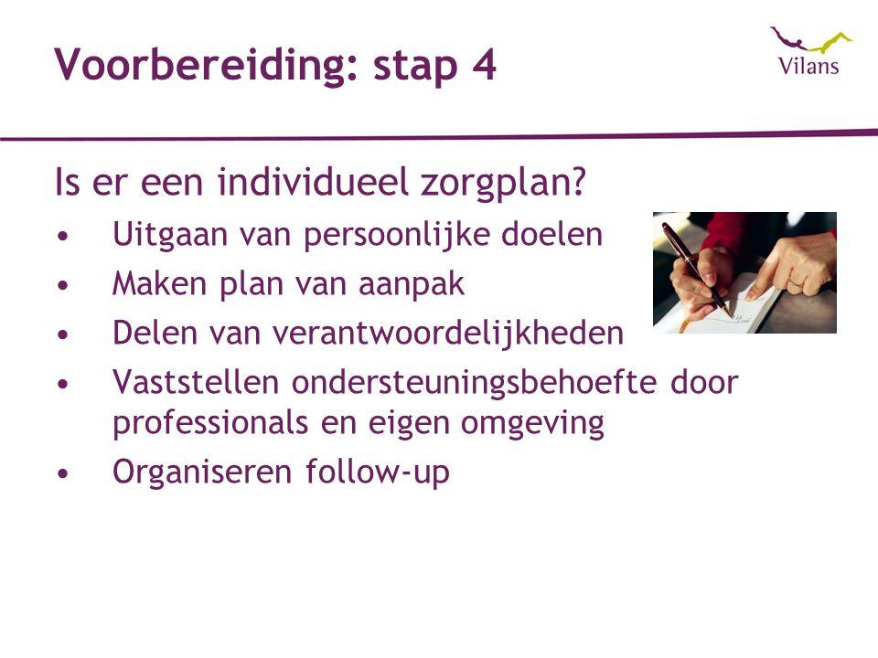 Voorbereiding: stap 4 Is er een individueel zorgplan.