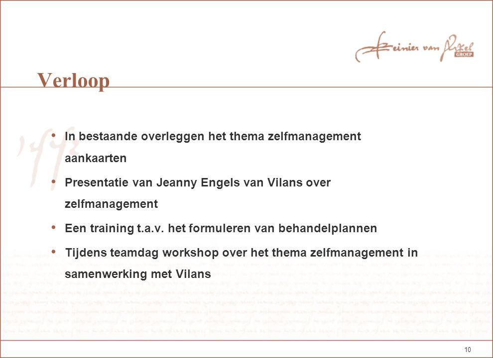 10 Verloop In bestaande overleggen het thema zelfmanagement aankaarten Presentatie van Jeanny Engels van Vilans over zelfmanagement Een training t.a.v