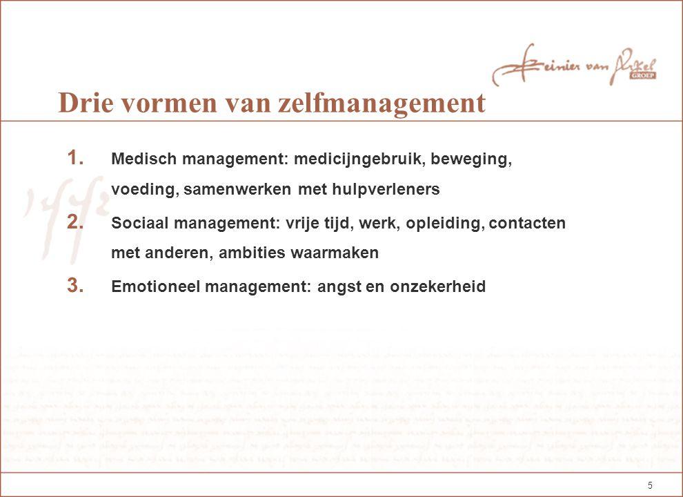 5 Drie vormen van zelfmanagement 1. Medisch management: medicijngebruik, beweging, voeding, samenwerken met hulpverleners 2. Sociaal management: vrije