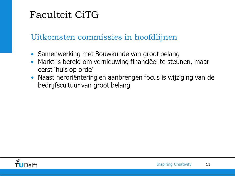 11 Inspiring Creativity Faculteit CiTG Uitkomsten commissies in hoofdlijnen Samenwerking met Bouwkunde van groot belang Markt is bereid om vernieuwing
