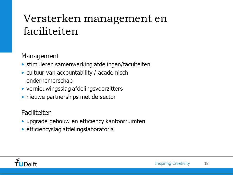 18 Inspiring Creativity Versterken management en faciliteiten Management stimuleren samenwerking afdelingen/faculteiten cultuur van accountability / a