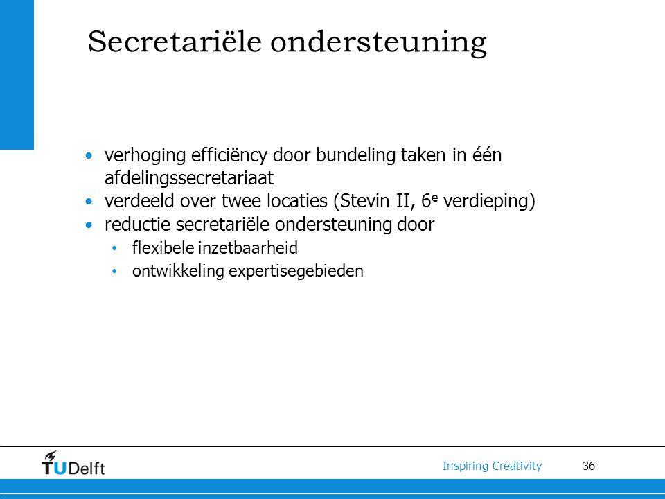 36 Inspiring Creativity verhoging efficiëncy door bundeling taken in één afdelingssecretariaat verdeeld over twee locaties (Stevin II, 6 e verdieping)