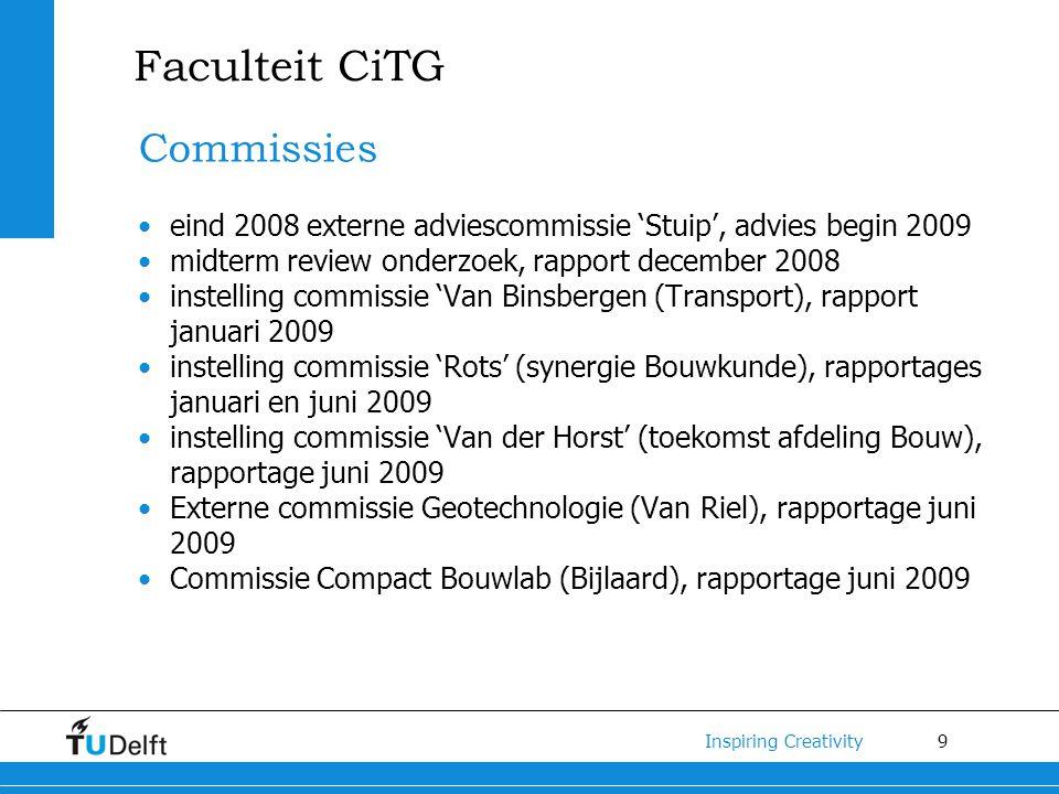 9 Inspiring Creativity Faculteit CiTG Commissies eind 2008 externe adviescommissie 'Stuip', advies begin 2009 midterm review onderzoek, rapport decemb